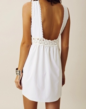 dress white lace scalloped