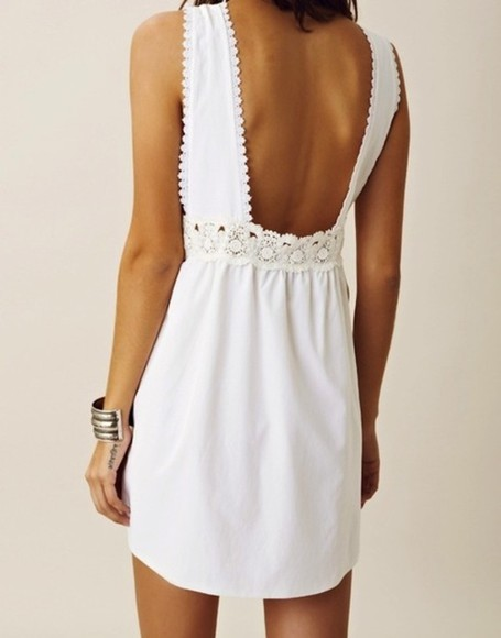scalloped lace dress white