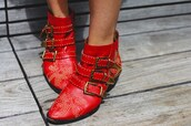shoes,susanna boots,boots,chloe,red boots,ankle boots,studded shoes,embellished,buckle boots,buckles,mid heel boots
