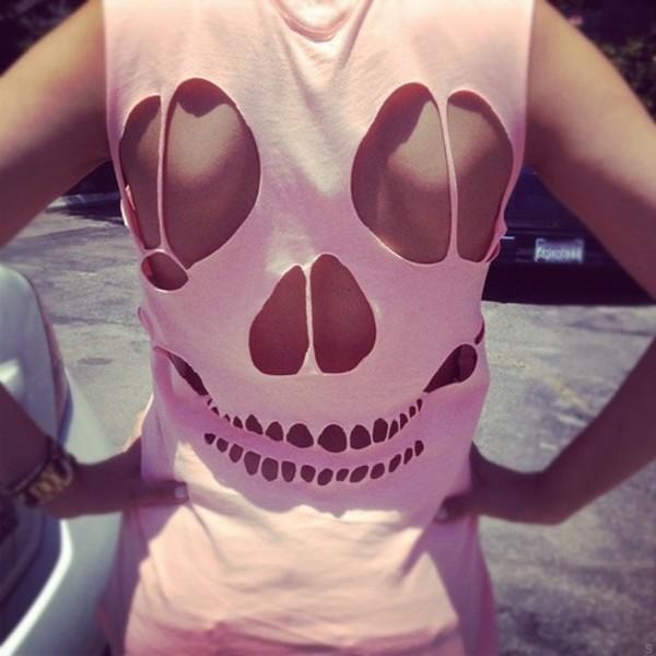 shirt skull pink pink shirt tank top sleeveless cut-out tank top