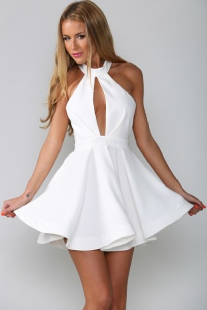 Skater Dress White White Dress White Flowy Dress