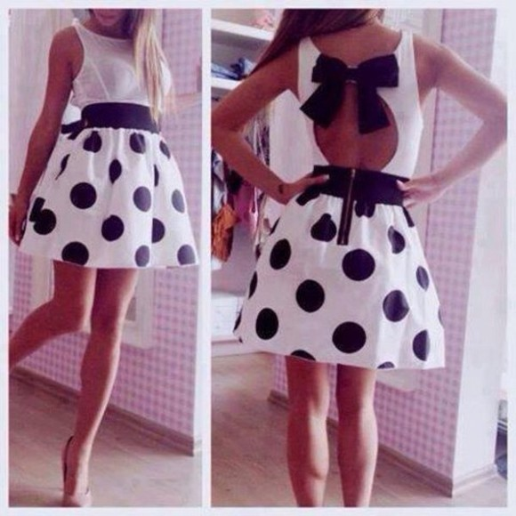 black dress white polka dot bow