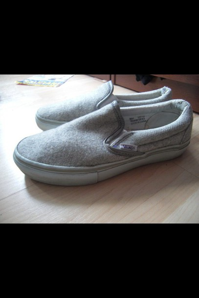 shoes vans slip on shoes grey