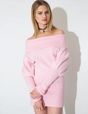 dress,pixie market,off the shoulder dress,nanda style,korean fashion,knitted dress,cute dress,pink dress,bubblegum,korean style