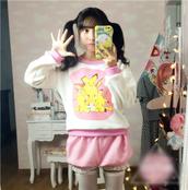 top,dejavu cat,pikachu,cute,kawaii,pink,sweatshirt,faux fur,white,hoodie,long sleeves t,tumblr,fairy kei,pastel,pastel goth,pastel pink,dollly