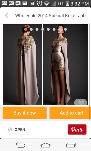 dress prom dress royal elegant prom cape gold high low fancy queen