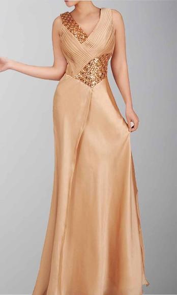 evening dress long formal dress golden dress V-neck dress pleats satin dress