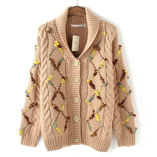 coat cardigan knit mixed color warm