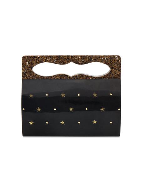 women shell embellished clutch black bag