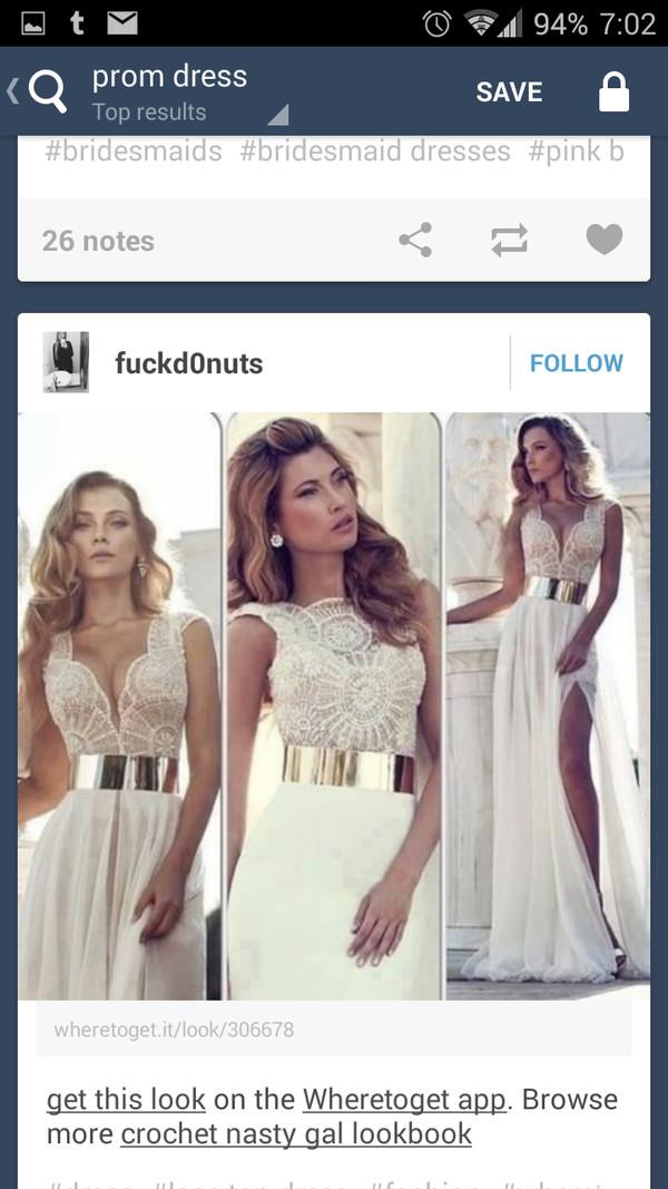 dress white gold belt lace
