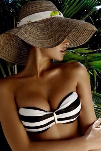 swimwear bikini stripes sexy bandeau bikini tube top