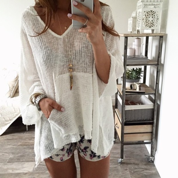 Shirt: white, boho, bohostyle, summer, oversized, sweater, knit ...