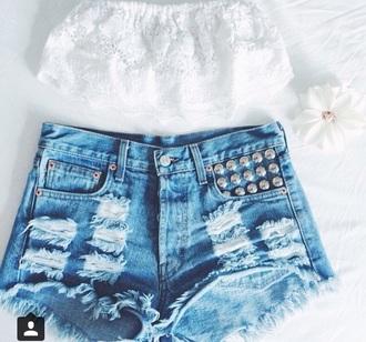shorts high waisted shorts denim shorts studded shorts crop tops