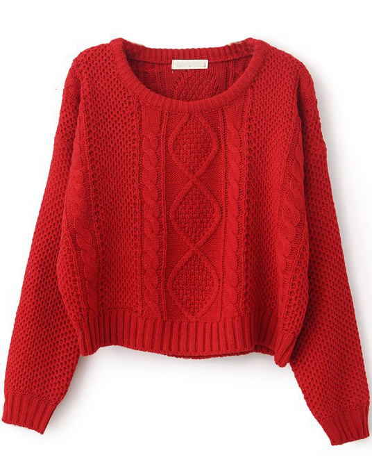 Red long sleeve cable knit pullover sweater