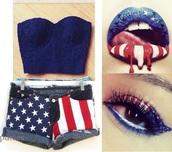 july 4th,shorts,crop tops,swag,make-up,lips,eye shadow,tank top