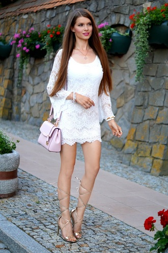 only my fashion style blogger dress shoes bag jewels mini dress lace dress long sleeves short dress date dress date outfit party dress pink bag shoulder bag sandals sandal heels high heel sandals gold sandals summer dress summer outfits bell sleeves white dress