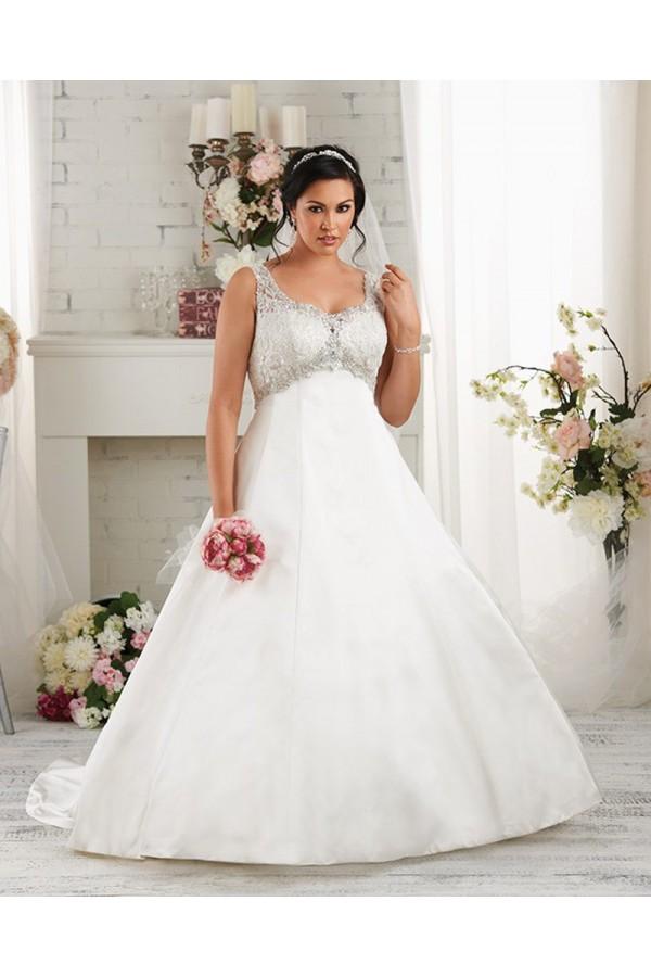 A-Line V-Neck Lace-up Court Train Taffeta Sleeveless Plus Size Wedding Dresses