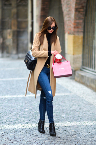 vogue haus blogger coat jeans shoes bag belt jewels sunglasses camel coat gucci belt chanel bag ankle boots
