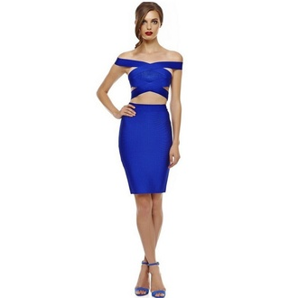 dress wots-hot-right-now blue dress off the shoulder bandage dress party dress party sexy party dresses sexy sexy dress clubwear club dress special occasion dress occasion dresses every occasion for special occasions evening dress event glamourous dress two piece dress set thanksgiving fall outfits autumn/winter