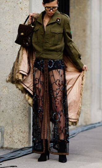 skirt see through lace maxi skirt jacket streetstyle fashion week 2017 paris fashion week 2017 fashion week street style