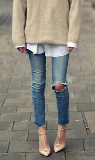 sweater ripped jeans oversized sweater