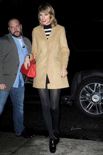 coat fall outfits taylor swift dress shoes camel coat