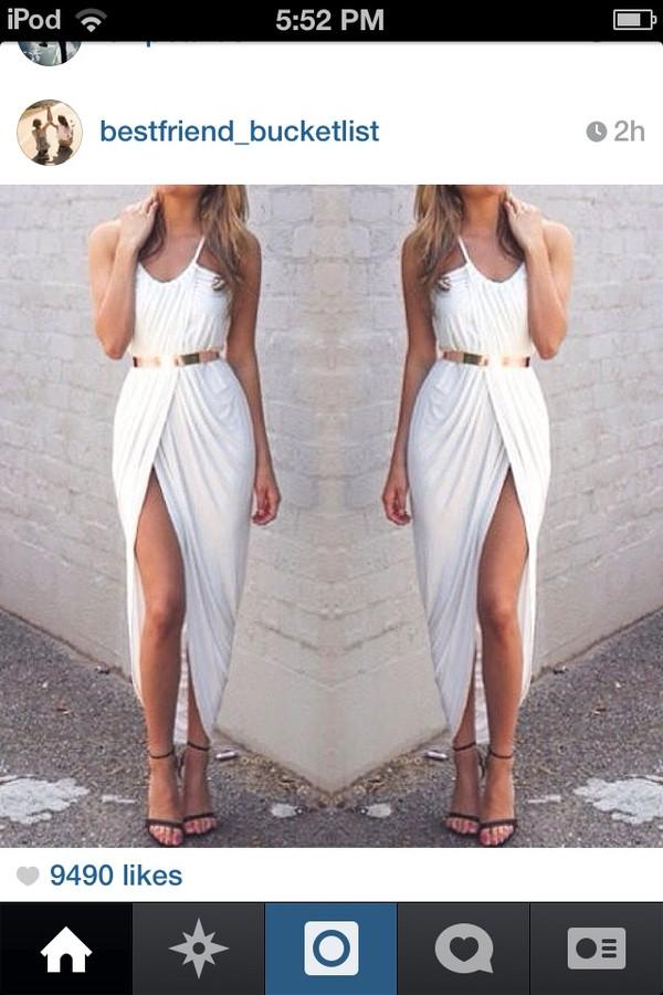 dress front split dress white and gold belt