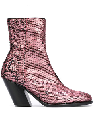women boots ankle boots leather purple pink shoes