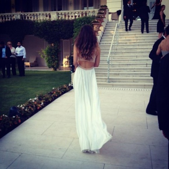 floaty white dress dress open back maxi dress prom dress long prom dresses nude dress beige