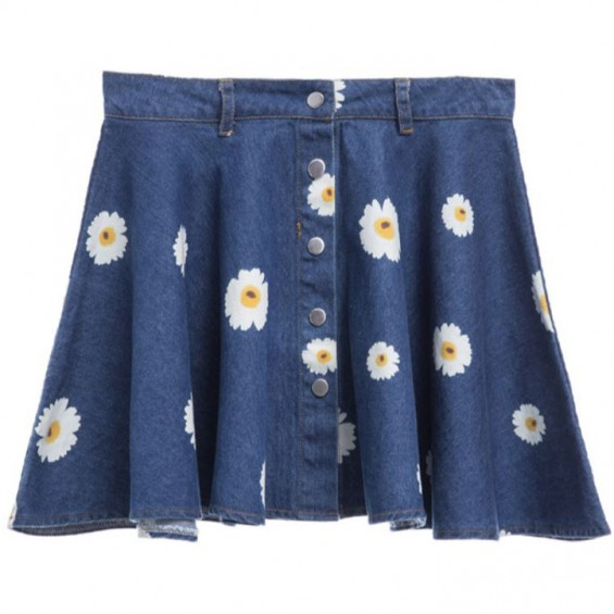 BOOGZEL | Daisy Print Button Denim Skirt