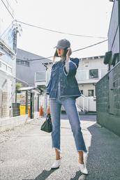 jeans,tumblr,blue jeans,cropped jeans,jacket,denim jacket,shoes,white shoes,mules,cap,bag