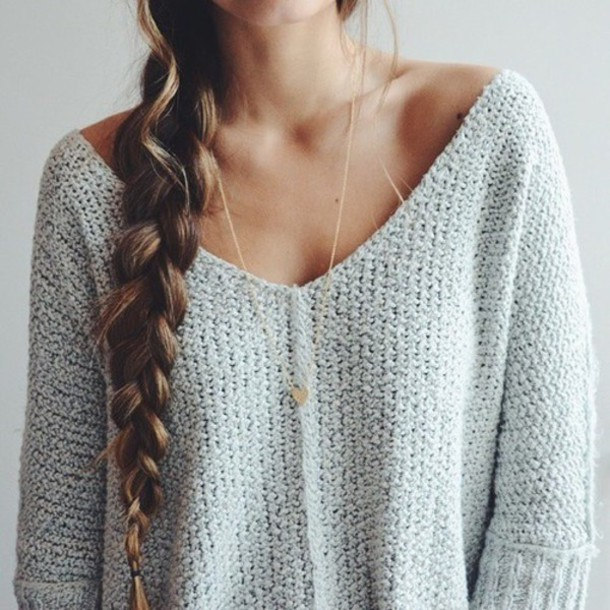 Jewels: necklace, cozy, light, white, sweater, style, winter ...