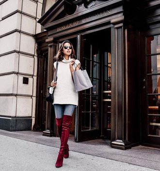 velvet over the knee boots tumblr red boots over the knee boots velvet velvet boots velvet shoes jeans denim blue jeans sweater white sweater turtleneck sleeveless turtleneck sweater turtleneck sweater bag sunglasses burgundy shoes blogger viva luxury