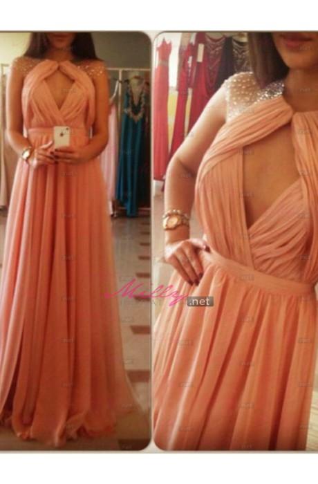Buy 2015 chiffon scoop blush prom dress at millybridal.net