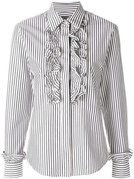 Alexa Chung - striped ruffled shirt - women - Cotton - XS, Blue, Cotton