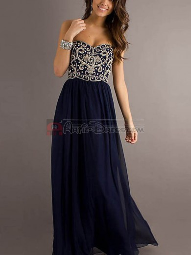 Blue, Royal Blue, Dark Navy A-Line Sweetheart Embroidery Sleeveless Chiffon Long Prom Dresses for Cheap