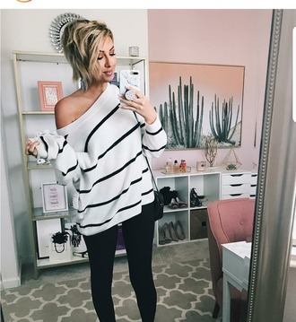 sweater oversized sweater white sweater white knit oversized sweater with black stripes