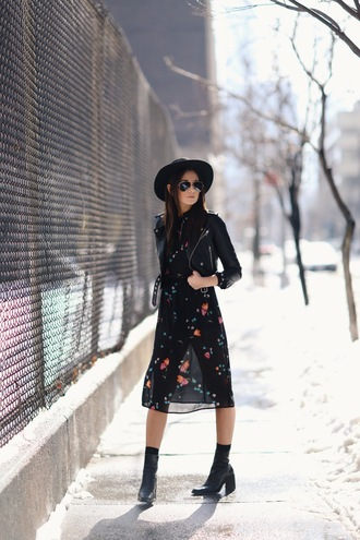 we wore what blogger hat black boots leather jacket black dress