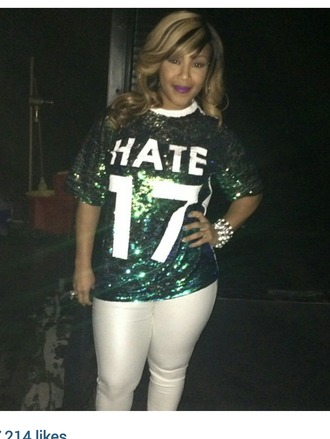 sequin shirt celebrity style celebrities graphic tee colorful jersey erica campbell fashion style shirt