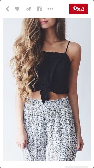 pants black and white high waisted cute outfit shopstyle by popsugar black black top crop tops