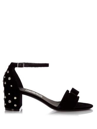 sandals velvet silver black shoes
