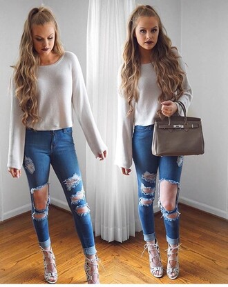 jeans ripped jeans high waisted jeans high waisted high heels heels shoes 5 inch and up sexy shoes top outfit outfit idea fall outfits cute outfits date outfit spring outfits white top long sleeves white crop tops crop tops bag summer outfits purse handbag party outfits fashion clothes lipstick dark lipstick accessories