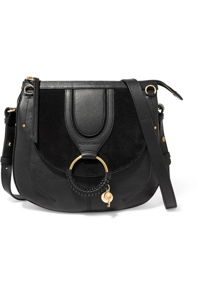 See By Chloé - Hana medium textured-leather and suede shoulder bag