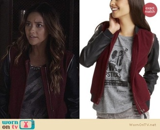 jacket leather jacket burgundy fall sweater sweater pretty little liars