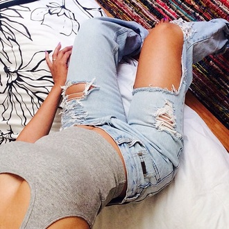 jeans blue jeans tumblr outfit holes