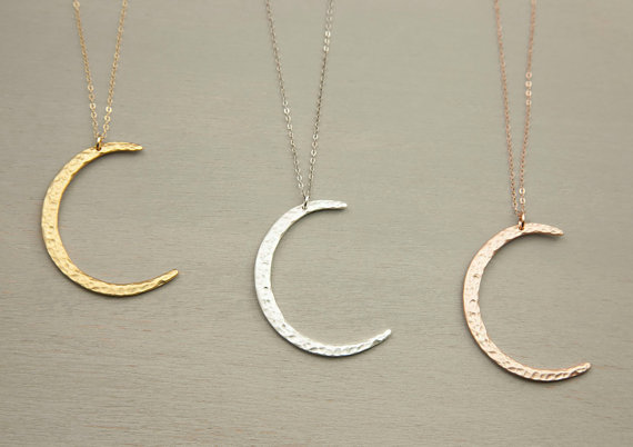 Crescent moon necklace // long pendant necklace // long boho necklace // choose your length // moon slice
