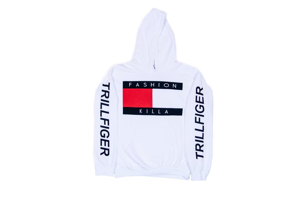 Soto militia — fashion killa x trillfiger hoodie (white)
