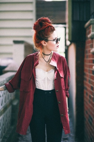 blouse button down burgundy oversized bun corset white lace high waisted pants sunglasses alternative style fashion girl bustier luanna perez choker necklace oversized shirt black pants