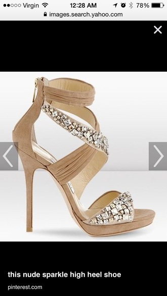 shoes nude heels rhinestones