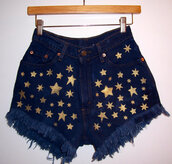 shorts,stars,gold,dyed,denim shorts,high waisted,levi's,frayed shorts,cut offs,vintage,summer,beach,clothes,festival,etsy,tumblr,hipster